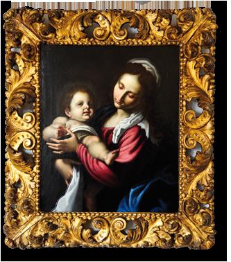 Madonna mit Kind, Lodovico da Cigoli Cardi (1559 - 1613), Maler und Architekt, Italien, etwa 1610. Alte Rahmung. Rückseitig alte Auktionsnummer (Christies, London 1970'er Jahre)