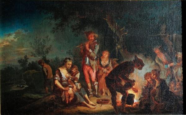 Gaukler am Lagerfeuer, Konrad Seekatz, 18. Jh. Deutsch