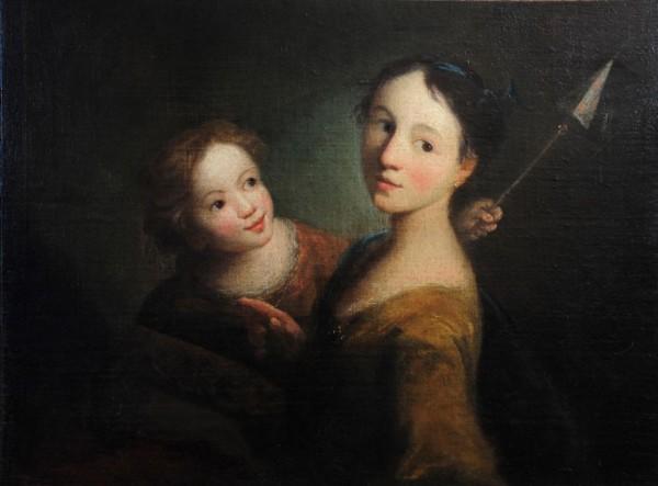 Zwei Mädchen mit Windrad, 18. Jh., Deutsch, Tischbein