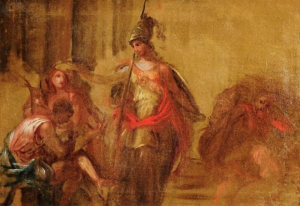 Segen der Minerva, Skizze, Bozzetto, mythologische Darstellung, 18. Jh., wohl Augsburg / süddeutsch