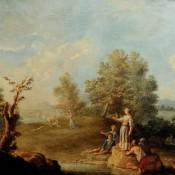 südl. Landschaft mit Figurenstaffage , 18. Jh. Frankreich / Italien?