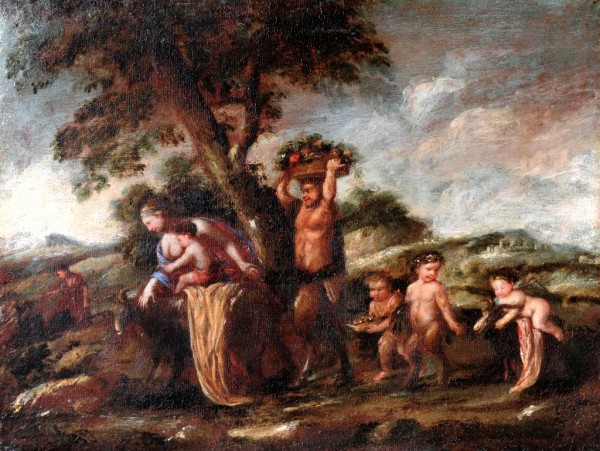 Landschaft mit Satyren, 17. Jh., Italien, bolognesische Schule, Kreis des Giuseppe Maria Crespi