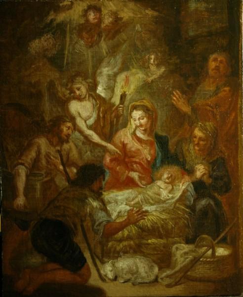 Weihnachtsbild, Bozzetto, Anbetung der Hirten, 1. Hälfte 18. Jh., Italien, Genua